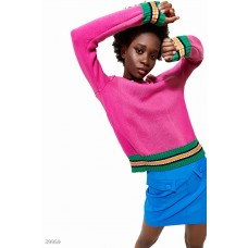 Pink jumper with colored stripe