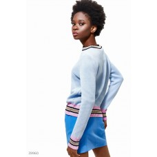 Light blue jumper with colored stripe