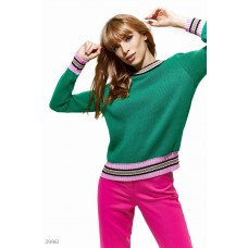 Green jumper with colored stripe