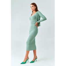 Knitted set in a pale green shade