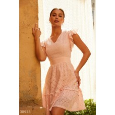 Pink dress with embroidery